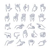 Hands Gestures Doodle Icons. Collection of hands in different gestures. Vector line icons Royalty Free Stock Image