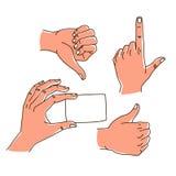 Hands gestures hand drawn set logo design isolated on white. Hands gestures hand drawn set stroke outline logo graphic art design isolated on white. Thumb up vector illustration