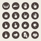 Hands gestures icon set. Vector illustration Royalty Free Stock Photography