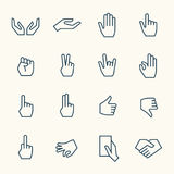 Hands gestures icons. Hands gestures line icon set Stock Images