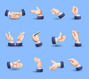 Hands gestures icons set flat. Hand gestures flat icons set expressing approval with thumb up and pointing finger abstract vector  illustration Royalty Free Stock Image