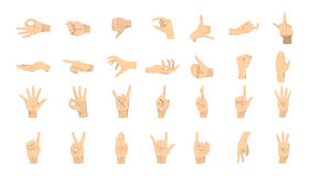 Hands gestures set. Hands with signs and symbols on white background Royalty Free Stock Photography