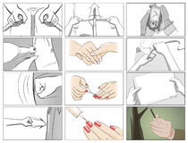 Hands gestures storyboards. Color and black and white vector illustration