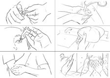 Hands gestures storyboards. In lines royalty free illustration