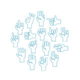 Hands gestures vector icons set in a circle Royalty Free Stock Images