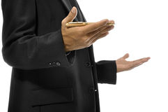 Hands Gesturing While Holding Pen. Close up of hands gesturing while holding pen and torso of man with business suit. Isolated over white background Stock Images
