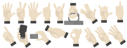 Hands gesturing set. On white background. Shaka, holding a phone, card, handshaking, peace and victory pointing, rock, vulcan salute gesturing. Counting vector illustration
