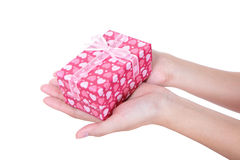 Hands and gift close up Royalty Free Stock Images