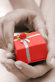 Hands and Gift Sepia Royalty Free Stock Image