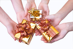 Hands and gifts Stock Photo