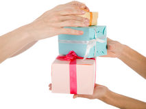 Hands and gifts isolated Royalty Free Stock Photography