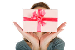 Hands and gifts isolated Stock Photography