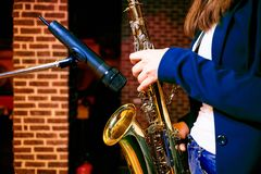 Playing saxophone royalty free stock images