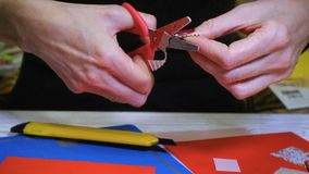Girl making scrap Valentine greeting card. Hands of girl making scrap Valentine greeting card stock video