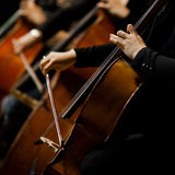 Hands girl playing cello Royalty Free Stock Photos