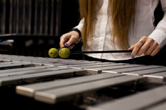 Hands girl playing the vibraphone Royalty Free Stock Images