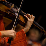 Hands girl playing the violin Stock Images