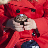 Girl holding bun or cake. Hands of girl in red coat holding tasty bun or cake Royalty Free Stock Image
