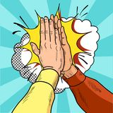 Hands give five pop art. Male hands in a gesture of success. Yellow and red sweaters. Vintage cartoon retro  illustration. Stock Image