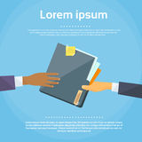 Hands Give Folder Document Papers, Concept. Businessmen Share Information Data Icon Flat Vector Illustration Stock Photos