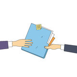 Hands Give Folder Document Papers, Concept Businessmen Share Information Data Icon Stock Photo