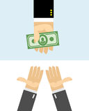 Hands give money. Purchase Royalty Free Stock Photos
