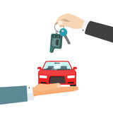 Hands giving car and car keys vector illustration, idea of automobile rent, auto sell flat Stock Images