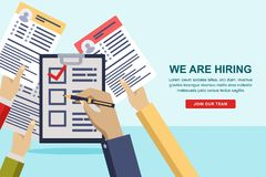 Hands giving cv resume to HR manager. Recruitment and hiring banner or poster design template. Vector illustration. Hands giving cv resume documents to HR stock illustration
