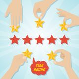 Hands giving five stars rating. Vector illustration Royalty Free Stock Photos