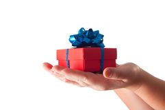 Hands giving a gift stock images