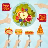 Hands giving junk and healthy eating. Food choice concept Royalty Free Stock Photo