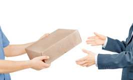 Hands giving mail box Royalty Free Stock Image