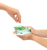 Hands giving money Stock Photo