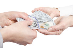 Hands giving money to other hands Stock Photography