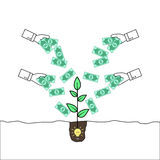 Hands giving money to a plant emerging from an idea bulb Stock Images