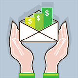 Hands giving receiving checks inside an envelope Royalty Free Stock Photo