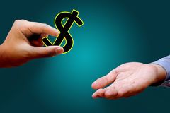 Hands giving and receiving dollars sign royalty free stock images