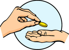 Hands giving and receiving money. Illustration of a hand giving money with other hand receiving it Stock Photography