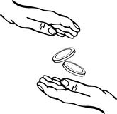 Hands giving and receiving money vector. Vector illustration of two hands giving and receiving money Stock Photography
