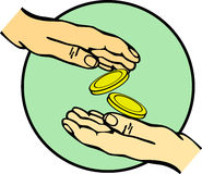 Hands giving and receiving money vector. Vector illustration of hands giving and receiving money Stock Photography