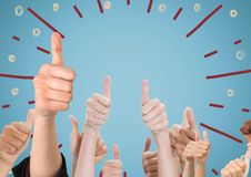 Hands giving thumbs up against blue background with fireworks doodle. Digital composite of Hands giving thumbs up against blue background with fireworks doodle Stock Photo