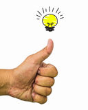 Hands giving thumbs up against light bulb Royalty Free Stock Photography