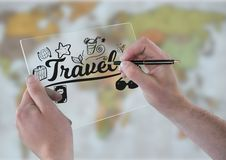 Hands with glass device and pen and black travel doodles against blurry map Royalty Free Stock Photos
