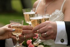 Hands and glasses. Wedding party hands holding champange glasses Royalty Free Stock Photo