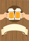 HAnds with glasses of beer who toast. Royalty Free Stock Image