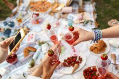 Hands with glasses cheers on summer day picnic royalty free stock photo
