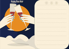 Hands with glasses happy new year. And the Moon royalty free illustration