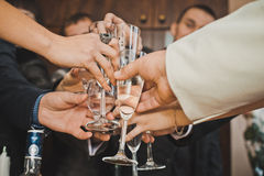 Hands with glasses 952. Stock Images