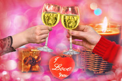 Hands with glasses of  vine, for Valenti Royalty Free Stock Photo