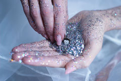 hands glitter time clock wakeup new year silver Stock Images